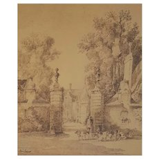 Jacques Alfred Brielman (1830-1892), Ink Drawing Painting, 19th Century Landscape Painting