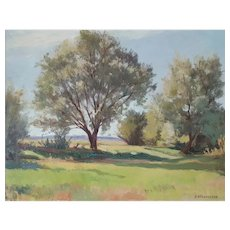 Landscape Painting French Vintage Artwork, Oil on Wood Painting, Henri Ethevenaux (1894-1968)
