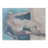 Abstract Watercolour Painting, 1991 Naked Figure, Roger Coppe