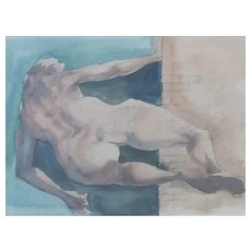 Roger Coppe (1928-2012) Original Abstract Watercolor Painting, Naked Figure, 1991
