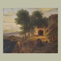 Landscape Oil Painting, Abbey Scene Painting, Circa 1820, To be Restored
