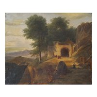 Landscape Oil Painting, French Canvas Painting, Monastery Scene Circa 1820, To be Restored
