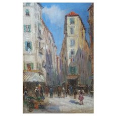 Genre Scene Cityscape Painting, Oil on Wood Panel, Marseille Street View, Circa 1940