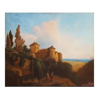 Oil Painting Landscape, 19th Century Scene Italian Landscape Painting