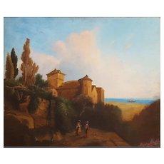 Oil Painting Landscape, 19th Century Scene Italian Landscape Painting
