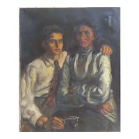 1940s Portrait Painting, Large Oil on Canvas To be Restored, Spanish School