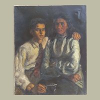Oil on Canvas Painting to be Restored, Large 1940s Portrait Painting