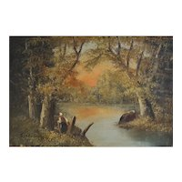 Oil on Canvas Painting Landscape Forest River, 1950's Wall Art Signed Louis Andrey