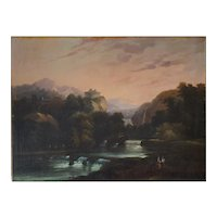 Landscape Oil Painting, 19th Century Large Canvas Painting, To be Restored