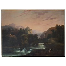 Landscape Painting Oil on Canvas 19th Century, Unframed Painting To be Restored