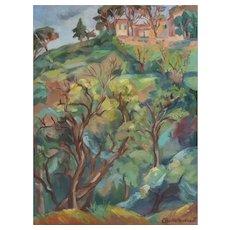 Vintage Landscape Painting, French Oil on Canvas, Claire Demartinécourt (1896-1981)