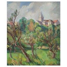 French Landscape Painting, Vintage Oil on Canvas Painting, Claire Demartinécourt (1896-1981)