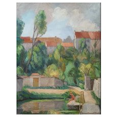 Oil Landscape Painting, French Village Scene Painting, Claire Demartinécourt (1896-1981)