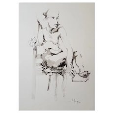 Nude Male Painting, Original Watercolor Pencil Drawing, Roger Coppe (1928-2012)