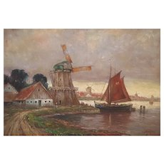 19th Century Oil Impressionist Painting, Framed Dutch Landscape