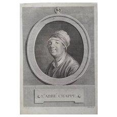 Original Engraving 18th Century Man Portrait, Jean-Baptiste Tilliard (1740-1813)