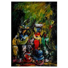 Colourful Abstract Figurative Oil on Canvas Painting, Market Scene Circa 1950-60