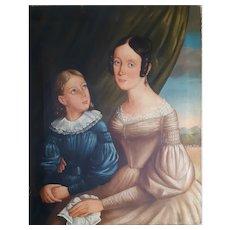 19th Century Large Oil Portrait Painting, Circa 1835