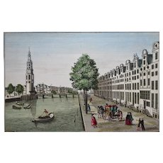 Amsterdam Perspective View - Hand Coloured Engraving -  Original 18th Century Engraving (Vue d'optique)