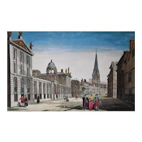 Oxford Perspective View - Hand Coloured Engraving - Original 18th Century Engraving (Vue d'optique)