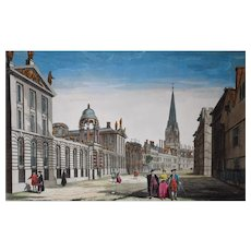 Oxford Perspective View, Original Hand Coloured Print, 18th Century
