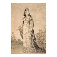 Rare Original Engraving,  Madame Royal Etching Portrait,  Circa 1820