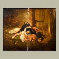19th Century Oil Painting, Sleeping Puppies Dog Scene, Art To be Restored