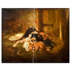 19th Century Oil Painting, Sleeping Puppies Dog Scene, Art To be Restored