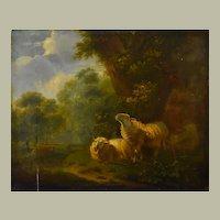 Oil Landscape Sheep Wood Painting, To be Restored, Henri Carpentero Ca 1850