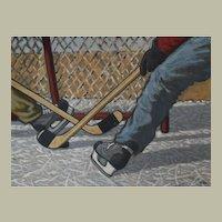 Hockey Players Painting, Oil Scramble Scene, Canadian Art Marcel Guldemond
