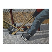 Hockey Players Painting, Original Oil Scramble Scene, Canadian Artist Marcel Guldemond