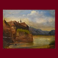 18th Century Oil on Wood Painting, Old Abbey Painting, To be restored