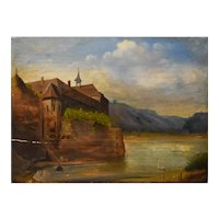 18th Century Oil on Wood Painting, Old Monastry Painting, To be restored
