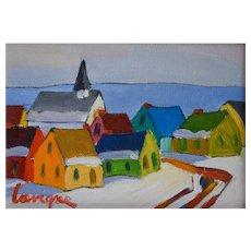 Winter Village Landscape, Painting On Canvas Board, Canadian Art, Pierrette Lavigne
