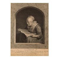 18th Century Print, Original French Engraving, Johann Georg Wille (1715-1808)