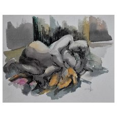 Nude Painting, Original Framed Watercolour Painting, Roger Coppe