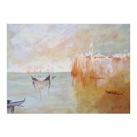 Venice View, Original Oil Handmade Painting, Framed Canadian Art, Monique Michaud