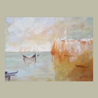 Venice View, Original Oil Painting, Framed Canadian Art, Monique Michaud