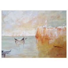 Venice View, Original Oil Painting, Framed Canadian Art, Monique Michaud