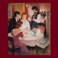 Scene Oil Painting, Original French Vintage Painting, Pierre Duteurtre