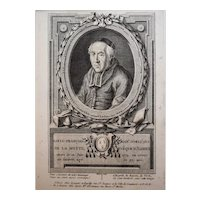 18th Century Print Bishop Portrait - Original French Engraving Circa 1780 - François Hubert (1744-1809)