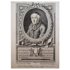 18th Century Print Bishop Portrait, French Engraving, François Hubert