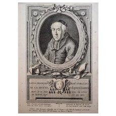 18th Century Print Bishop Portrait - Original French Engraving Circa 1780 - François Hubert (1744-1809)
