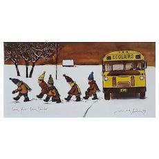 Original Folk Art School Bus Scene,  Quebec Artist Limited Edition Print, Normand Hudon (1929-1997)