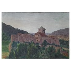 Vintage Landscape Painting, French Provence Village, Signed Angelo 1932