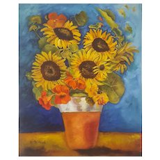 Still Life Sunflowers Painting, Original Oil on Canvas, Canadian Artist Monique Michaud (1941)