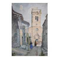 Original Watercolor Painting, French Old Village Scene, Ernest Berthier