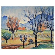 Oil Painting Landscape, 1938 French Provence Painting, Jacques Bonnefoy