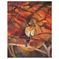 Bird Cardinal Oil Painting, Original Oil on Canvas, Monique Michaud