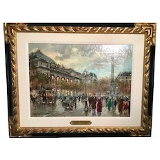 Mid 20th century Paris street scene by Antione Blanchard ,French 1910 to 1988